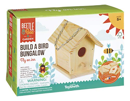 Toysmith Beetle & Bee Build A Bird Bungalow, Backyard Birdhouse Kit with Fsc Certified Wood DIY Arts & Crafts House Gardening for Kids & Teens, Boys & Girls