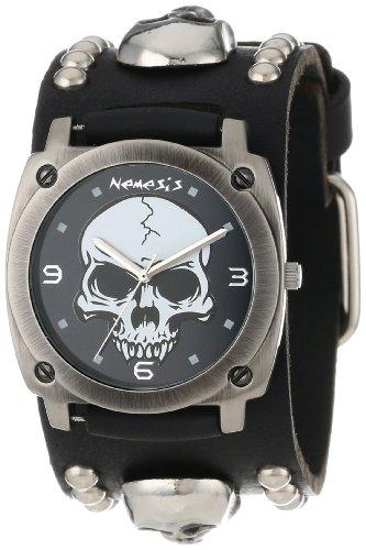 Nemesis Men's MSK926K Punk Rock Collection Black Heavy Duty Skull Leather Band Watch