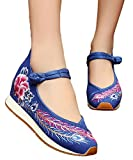 AvaCostume Womens Peony Phoenix Tail Embroidery Wedges Travel Walking Casual Shoes, Blue 36