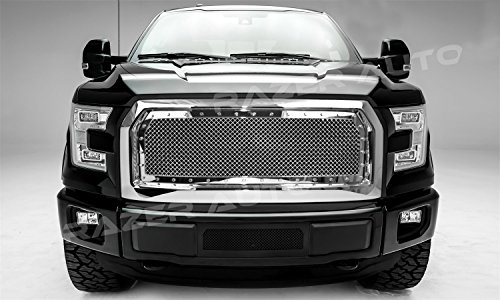 Razer Auto Rivet Studded Frame Chrome Mesh Grille Complete Factory Replacement Grille Chrome Shell for 15-17 2015-2017 Ford F150