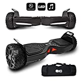CHO TM All Terrain Rugged 6.5 Inch Wheels Hoverboard Off-Road Smart Self Balancing Electric Scooter With built-In Bluetooth Speaker LED Lights UL2272 Certified (Black)