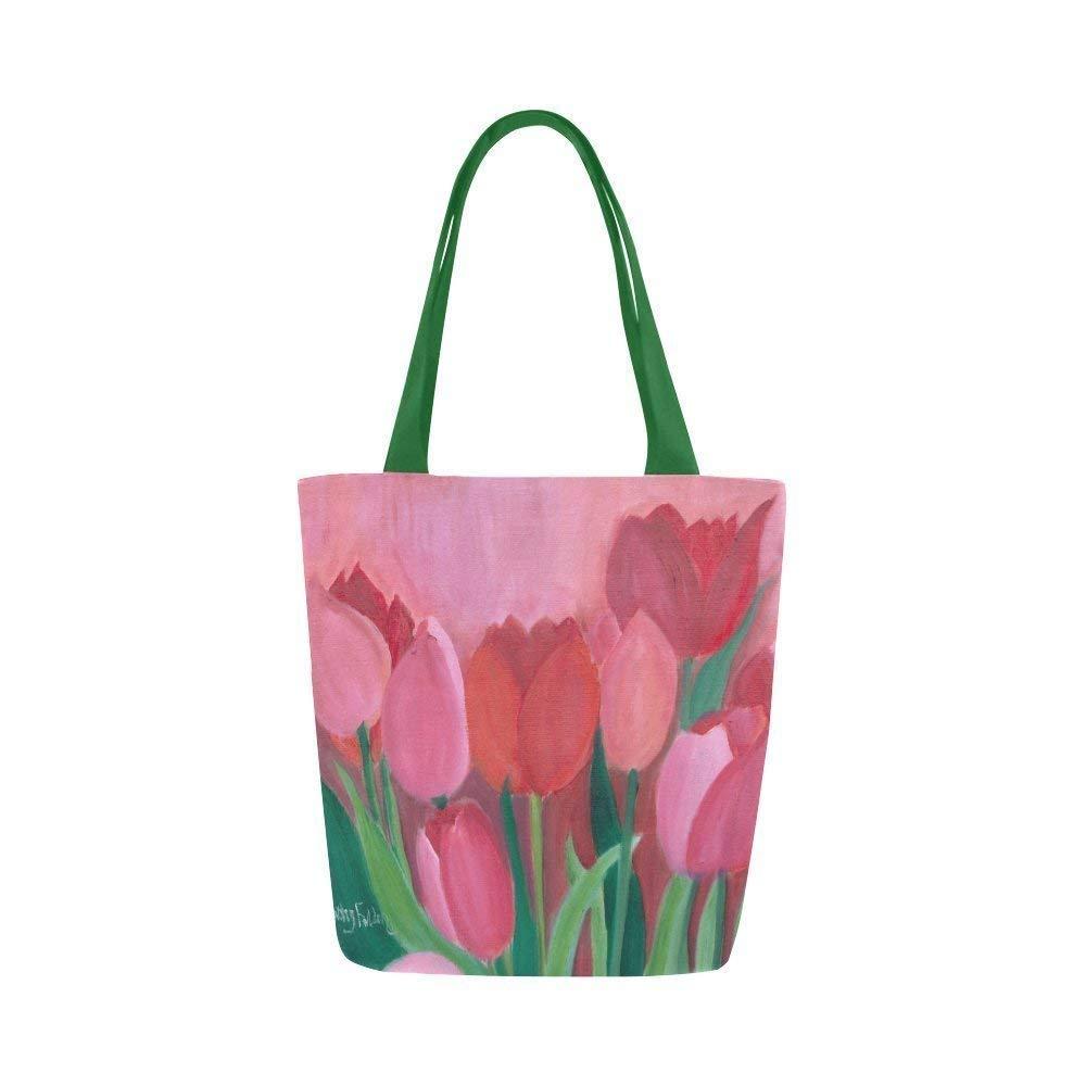 Asian Kokeshi Girl Applique Floral Canvas Market Bag Ready to Ship Black Pink Kids Teen Tween Women Doll Applique Tote Bag Flowers