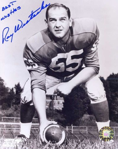 Ray Wietecha (D. 2002) Autographed/ Original Signed 8x10 Photo w/ the New York Giants in the 1950s - Later He Was Offensive Coordinator for Vince Lombardi and the Green Bay - Rays D Bay