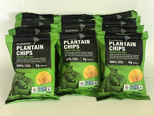 Platayuc Natures Brand plantain chips lightly salted with pacific sea salt - Kosher - Gluten free - NON GMO - Vegan - 100% Natural - 0g Trans Fat - (Pack of 12)
