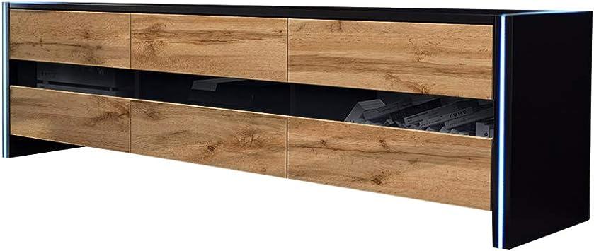 Selsey INCHEL - Mueble TV Moderno/Mesa para TV con LED/Mueble para Salón Comedor (Negro Mate/Roble Dorado): Amazon.es: Electrónica