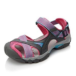 Clorts Women's Lightweight Athletic Sandal Outdoor Seaside Water Sneaker Rose SD-202C US7