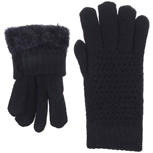 BYOS Womens Winter Ultra Warm Soft Plush Faux Fur Fleece Lined Knit Gloves W/Decorated Cuff (Black Net) by Be Your Own Style (Image #2)'