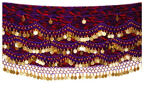 Zebra Belly Dance Hip Scarf Coin & Bead Belt Wrap UK Size 12-24 M to Plus Size (Zebra Purple RED Gold, XL to 3XL Plus Size UK 16-24) ()