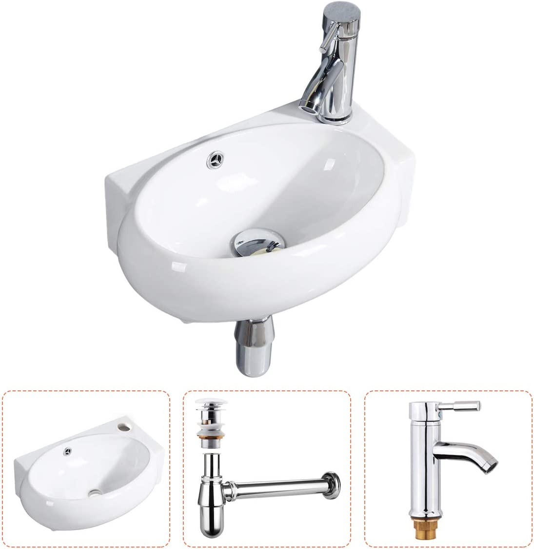 Gimify Bathroom Corner Sink Small Wall Mount Sink Oval Cloakroom Basin Mini Ceramic Modern In White With Overflow Pop Up Drain Faucet Included Amazon Com
