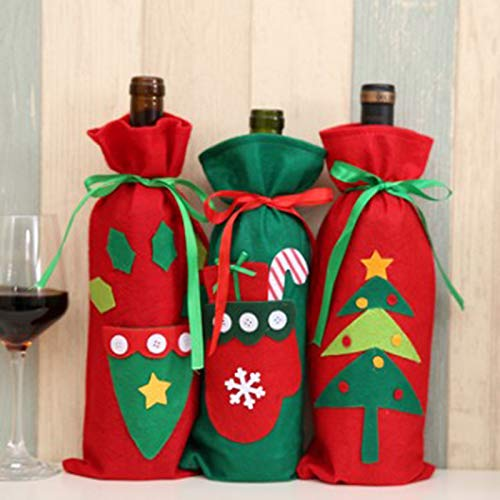 MoGist Wine Bottle Covers Christmas Wine Bottle Gift Bag Holder Santa Claus Christmas Table Dinner Decoration Home Party Decors (#A) by MoGist (Image #7)