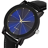 AutumnFall Needle Buckle Quartz Sport Military Stainless Steel Dial Leather Band Wrist Watch for Women Men (Black)