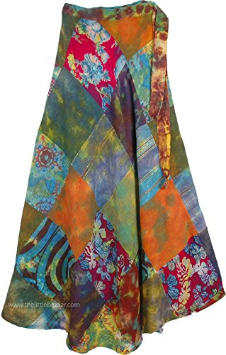 TLB Womens Patchwork Long Skirt Wrap Around - L: 38