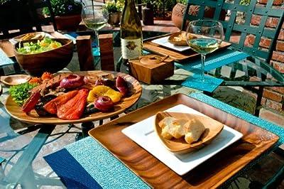 Pacific Merchants Acaciaware 10- by 3-Inch Acacia Wood Round Calabash Serving / Salad Bowl