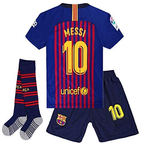 Cyllr Barcelona Home Kids/Youth 2018-2019 Season #10 Messi Socce Jersey Matching Shorts,Socks.Color Blue/Red Size 9-10Years(24)