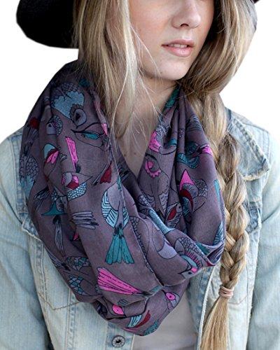Women's Tweet Bird Multicolor Infinity Scarf Shawl (Grey Pink Blue) ()