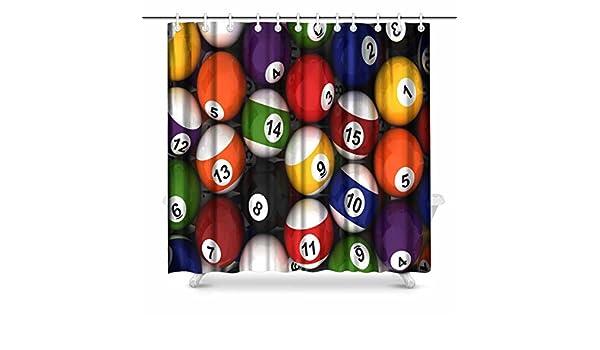 interestprint bolas de billar juego de decoración de baño cortina de ducha de tela con ganchos, 182,88 cm extra larga: Amazon.es: Hogar