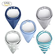 Baby Bandana Drool Bibs Boys Bibs 5 Pack Gift Set for Drooling and Teething 100% Organic Cotton Soft and Absorbent for Boys