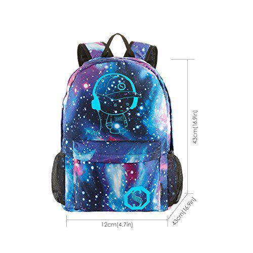 School Backpack Cool Luminous School Bag Unisex Galaxy Laptop Bag with Pencil Bag for Boys Girls Teens - Blue by S.K.L (Image #1)