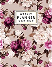 2021-2022 Weekly Planner: Pretty Vintage Two Year Calendar, Agenda, Diary | 2021-2022 Weekly Planner, Organizer with Vision Boards, To Do Lists, Notes, Holidays | Retro Pink Peony Roses