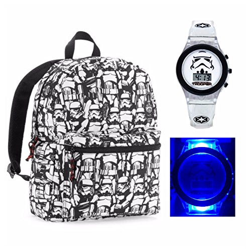 [Disney Star Wars Kids Stormtrooper Backpack and Light Up Digital Watch] (Stormtrooper Disney)