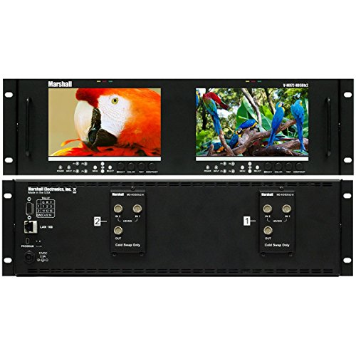 Marshall Electronics V-MD72-HDSDIx2 | Dual 7inch LCD 3 Rack Units Mount Monitor Dual HD-SDI Modules