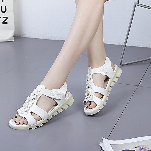 Piso de zapatos de Blanco antideslizante mujer XIAOGEGE de fondo sandalias Z1w7q7d