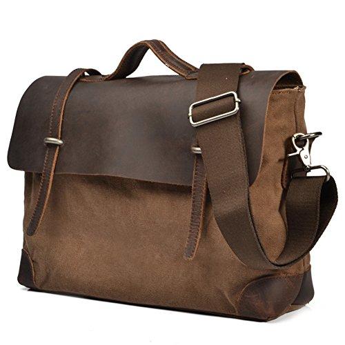 Outdoor Peak Herren retro Leinwand echtes Leder Tasche Damen Arbeit Reise Aktenkoffer-Laptop Satchel Schultertasche Messenger tasche für 14 Zoll Laptop (Braun) Braun 53qPNr46p