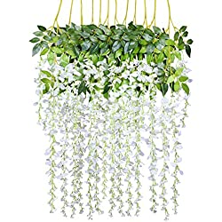 12 Pack 3.6 Feet/Piece Artificial Fake Wisteria Vine Ratta Hanging Garland Silk Flowers String Home Party Wedding Decor (White)