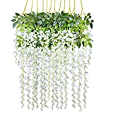 12Pack 3.6 Feet/Piece Artificial Wisteria Vine Rattan Hanging Wisteria...