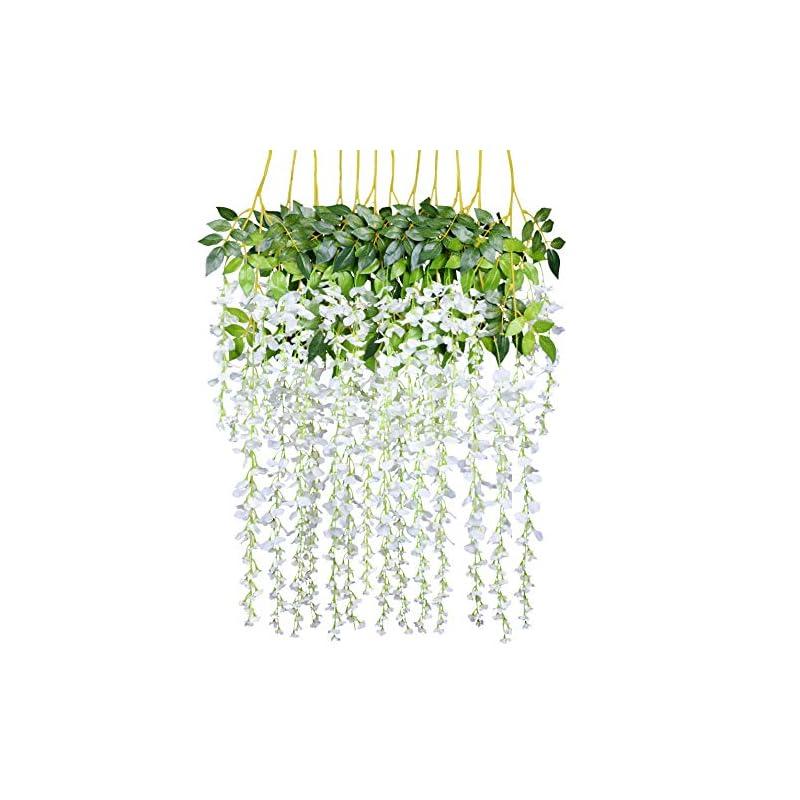 silk flower arrangements 12 pack 3.6 feet/piece artificial fake wisteria vine ratta hanging garland silk flowers string home party wedding decor (white)