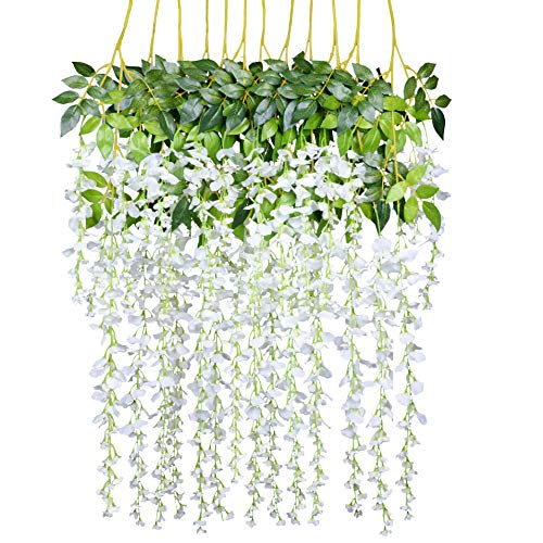 12 Pack 3.6 Feet/Piece Artificial Fake Wisteria Vine Ratta Hanging Garland Silk Flowers String Home Party Wedding Decor (White) ()