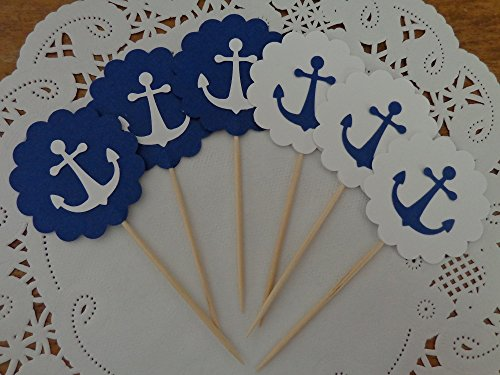 Anchor-Cupcake-Toppers-Navy-Blue-and-White-Anchor-Toppers-Party-Picks-Food-Picks-Nautical-Party-Decorations-Double-Sided-Set-of-24