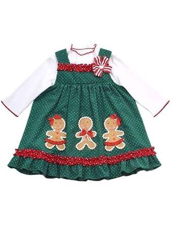 Amazon.com: Rare Editions Girls Christmas Holiday Gingerbread Man ...