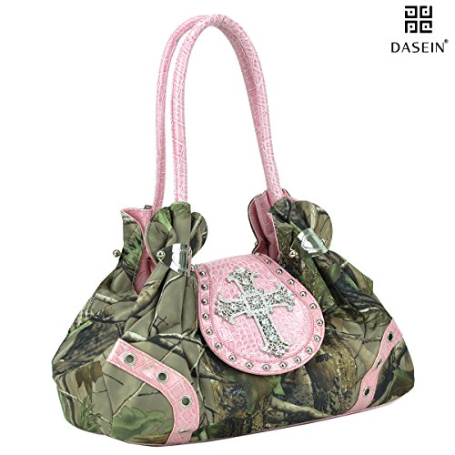 Dasein in Realtree Camouflage Purse Studded Shoulder Bag with Rhinestone - Gathered Leather Hobo Bag