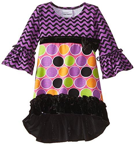 Flap Happy Baby Girls' Miranda Hi lo Dress With Velvet or Chiffon Ruffle, Sugar Dots, 18 Months