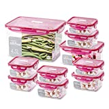 Lock&Lock Antibacterial Airtight Bisfree Stackable Food Storage Kitchen Container Set(10 Packs)