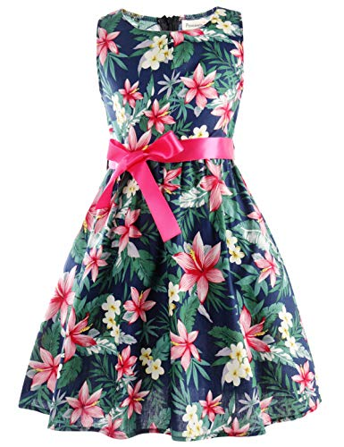 Floral Girls Dresses 7-16 Spring Dresses Clothes,C30,7-8 Years(140)