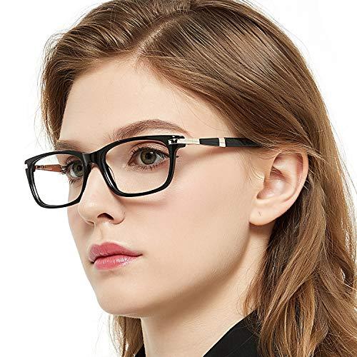 - OCCI CHIARI Women Eyewear Frames Fashion Optical Acetate Eyeglasses With Clear Lenses (A-Black(Anti Blue Light))