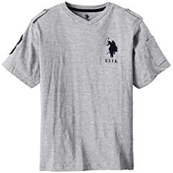 U.S. Polo Assn. Big Boys' Short Sleeve Slub V-Neck T-Shirt with Large Pony