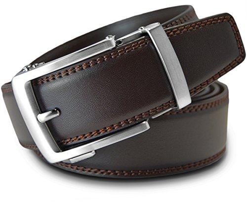 - Men's Leather Ratchet Click Belt - Classico Brushed Silver Buckle with Double Stitched Brown Leather Belt (Trim to Fit: Up to 38'' Waist)