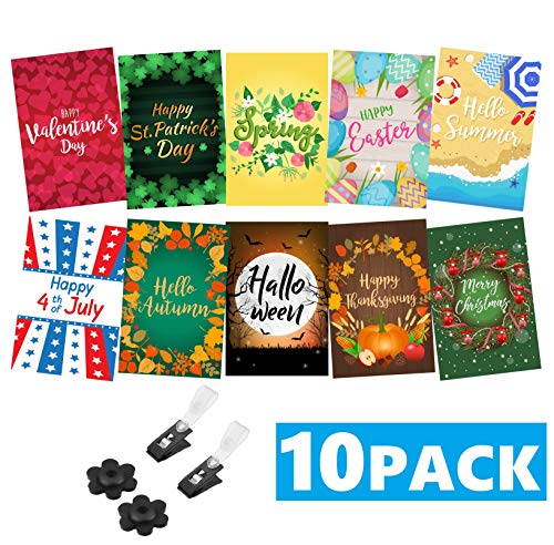 (Mogarden Seasonal Garden Flags Set - 10 Pack, 2 Stoppers and 2 Wind Clips, Double Sided Yard Flags, 12
