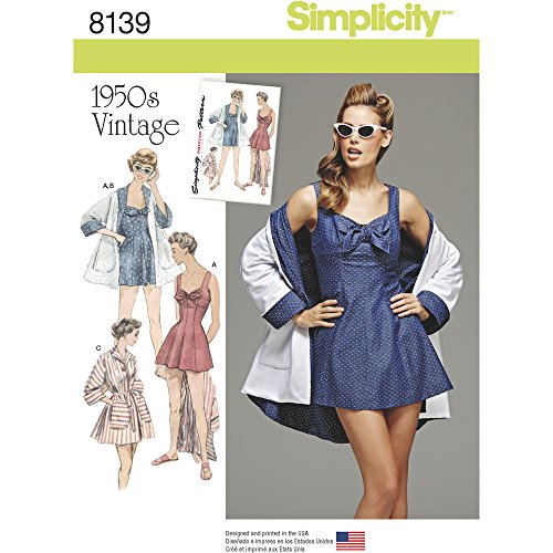 Patterns For Vintage Dresses (Simplicity Creative Patterns 8139 Misses' Vintage Bathing Dress and Beach Coat, R5 (14-16-18-20-22))