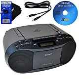 Image of Sony CD Radio Cassette Recorder Bundled with AC Power Auxiliary Cable for iPods, iPhones, Smartphones, MP3 Players, Xtech CD Lens Cleaner & HeroFiber Ultra Gentle Cleaning Cloth