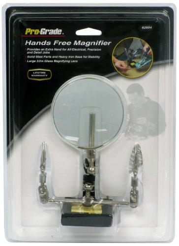 Pro-Grade 62654 Hands Free Magnifier - Plated Brass Magnifier