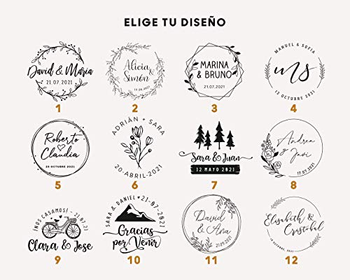 Sello Personalizado de Boda, 12 Diseños Exclusivos para Elegir, Sellos de Madera para Bodas con Tinta Opcional: Amazon.es: Handmade