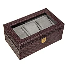 Executive Checked pattern leather watch box and Cufflink Case & Ring Storage Organizer Men's Jewelry Box Gift (Wenge)