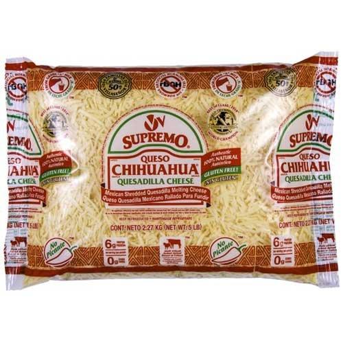 VV Supremo Shredded Queso Chihuahua Cheese, 5 Pound -- 4 per case.