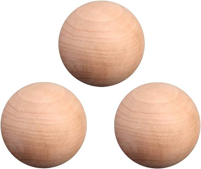 Supvox Bolas de madera naturales del arte de la bola 3pcs 3cm
