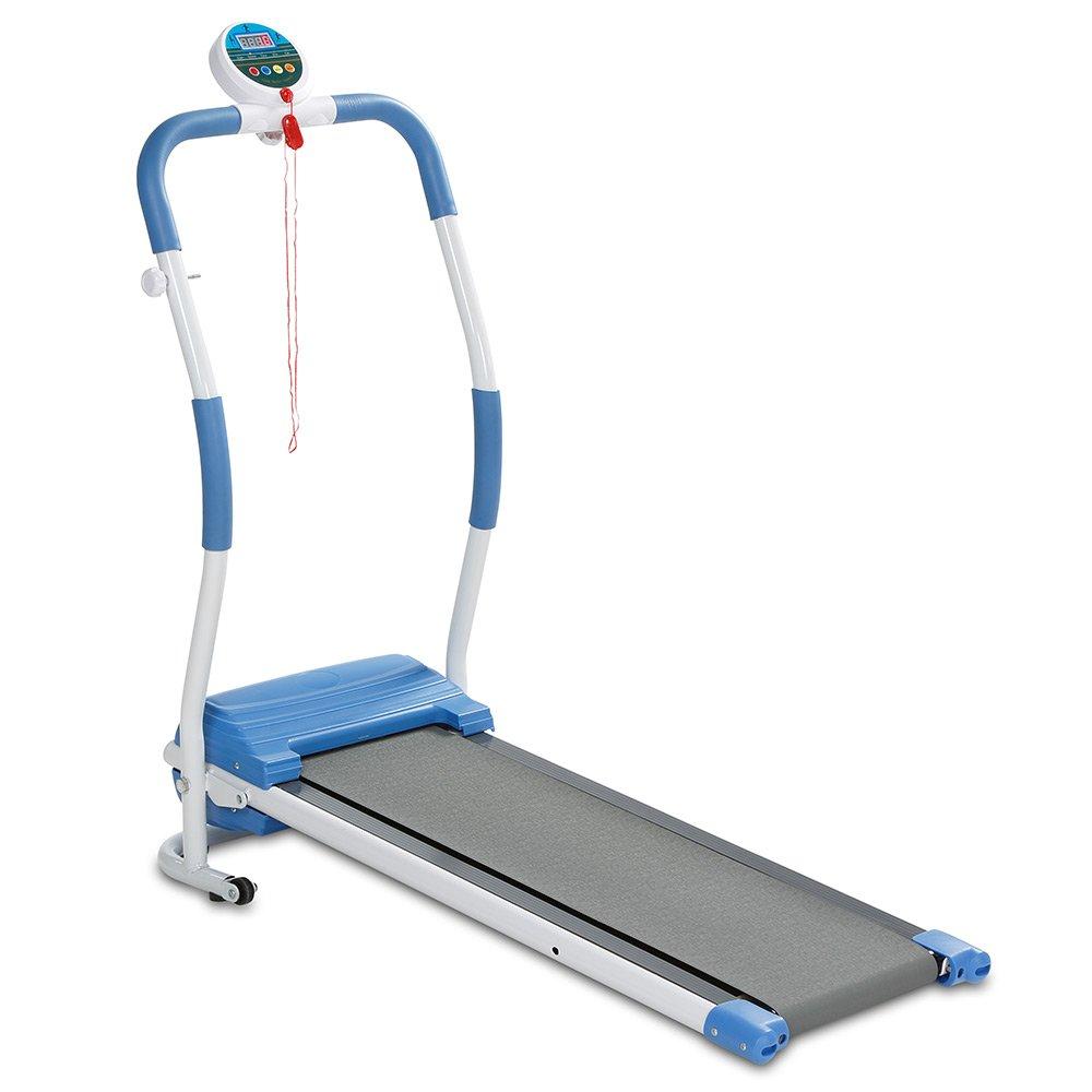 Aktivshop Elektro-Laufband für Einsteiger mit motorisiertem Anti-Rutsch-Laufband bis 6km h klappbar belastbar bis 100 kg Trainingscomputer Sicherheitsclip Weiß Blau