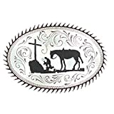 M F Western Products Boys Kid s MF Cowboy Prayer Buckle Silver